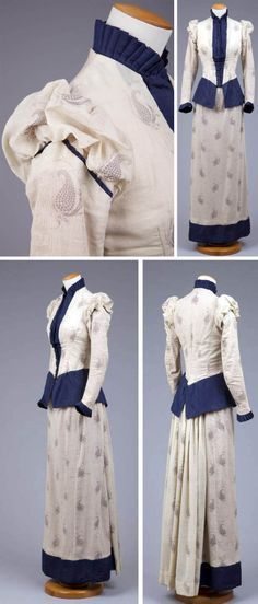 """Day or walking dress ca. 1890-93. Bodice & skirt made of natural cotton and wool printed with a dark blue, widely spaced, large paisley print. Tight-fitting boned bodice, narrow sleeves, and high collar. Sleeves are dropped and bodice front has slight """"V"""" lower edge. Fairly slim skirt has fullness in back for small bustle. Hand-stitched except for some machine-stitched alterations. Cotton lining. Goldstein Museum of Design, Univ. of Minnesota"""