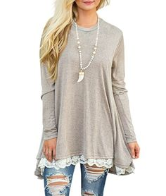ed3b36f2fc2 Looking for WEKILI Women s Tops Long Sleeve Lace Scoop Neck A-Line Tunic  Blouse   Check out our picks for the WEKILI Women s Tops Long Sleeve Lace  Scoop ...