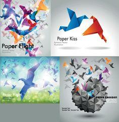 XOO Plate :: 5 Origami Birds Art Vector Backgrounds - 5 Colorful flying origami birds vector backgrounds. EPS.