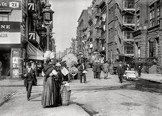 """Pedestrians walking and street vendors located on Mulberry Street, in the Italian neighborhood - """"Little Italy"""" section of Manhattan, (photograph, - ~ {cwlyons} ~ (Image/collection: Detroit Publishing Company, via: The LOC) Photographie New York, Little Italy New York, City C, City Life, Italy Street, New York City Photos, Mulberry Street, Brooklyn New York, Brooklyn Bridge"""