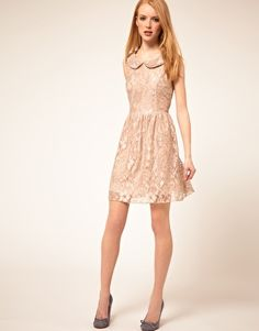 Angel Eye Lace Dress - On sale for $45.45 #asos  This beautifully crafted pale lace dress is a steal at such a low price! I love seeing this color on pale skin, like shown here. I'd pair this with sheer tights, cutesy heels and an adorable clutch with a gold chain.