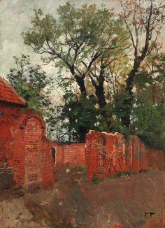 Rød mur og trær Fra omegnen av Amiens, Frits Thaulow
