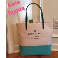 "💕NWT💕  Kate Spade ""Basin View"" Bon Shopper Tote How cute is this!!!  From the ""Basin View"" collection. You will definitely love this tote!!!  Color is a Cream/Mint or may look a little like a Tiffany blue. Measurements on 4th pic..... kate spade Bags Totes"