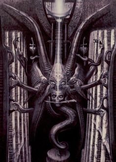HR Giger Tarot Cards - The Moon  #giger #hrgiger #h.r.giger