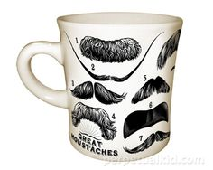 """GREAT MOUSTACHES MUG    You asked for it and we delivered... 14 of the most famous moustaches all in one place and glorified on a mug!     As Confucius said, """"A man without a moustache is a man without a soul.""""     Includes: Albert Einstein, Salvador Dali, Edgar Allen Poe, Charlie Chaplin and more...!"""