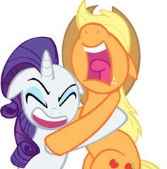 Applejack and Rarity screaming