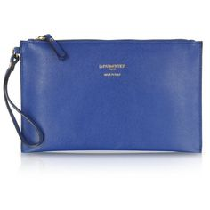 Le Parmentier Saffiano Leather Zip Clutch ($98) ❤ liked on Polyvore featuring bags, handbags, clutches, clutches / wallets / purses, wristlet clutches, special occasion handbags, blue purse, evening handbags and cocktail purse