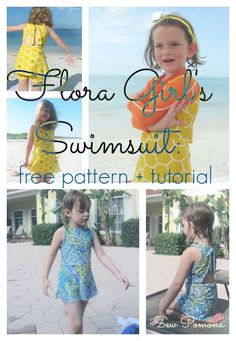 flora girls swimsuit free pattern + tutorial in size 3/4T at Sew Pomona