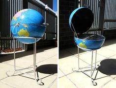 Metal Globe Transformed Into Clever BBQ Grill