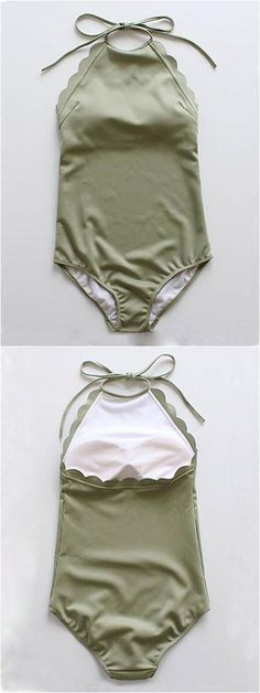 Pretty nice Army Green Halter Low Back Scallop Trim Swimsuit