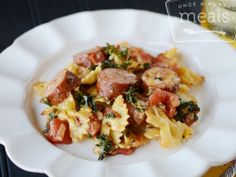 Andouille sausage and tender kale give a nod to the comforts of Southern cuisine in this Cheesy Sausage Pasta Bake.