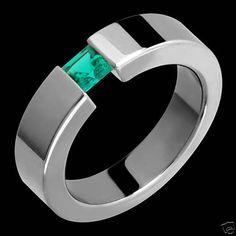 Womens Mens Titanium Ring Emerald Ring Wedding Band Comfort Fit Free Engraving #AlainRaphael #WithGemstones