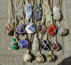 Hemp Wrapped Healing Crystal Gemstone Necklaces... I have got to figure out how to make these! I have sooo many cool stones from Mark Twain Cave when I went there as a kid, and they just sit in a plastic bag in a drawer. They'd be PERFECT for this!