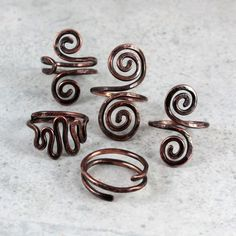 Swirls - copper rings by Caltha Jewelry #copper #jewelry #ring