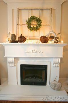 Fall Fireplace Mantel - Nest of Bliss Fall Home Decor, Autumn Home, Fall Fireplace Mantel, Fireplace Ideas, Autumn Mantel, Fireplace Wall, Fireplace Design, Old Windows, Windows Decor