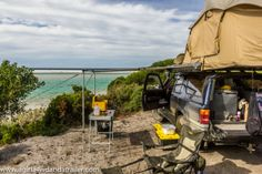 Our 4x4 set up in the most amazing free camp at Policeman's Point, Tasmania. www.agirla4wdandatrailer.com