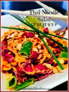 I made this Thai Noodle salad last night and can't stop thinking about it!  Raw, vegan, gluten free, grain free, dairy free, soy free, paleo, low carb.  Via @bcnutritionista