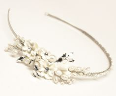 Ceramic flower wedding bridal side accent headband tiara accented with rhinestones and freshwater pearls by Hair Comes the Bride.