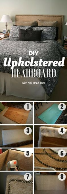 Check out how to build this easy DIY Upholstered Headboard with Nail Head Trim @istandarddesign