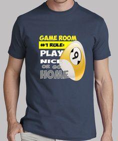 ROOM GAME BOLA9 camiseta de billar y diseños divertidos de todas las modalidades del pool, vista mi tienda www.8tacadas.es