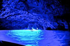 The Blue Grotto, inside sea cave on the coast of the island of Capri, Italy.  Most incredible water I've ever seen.