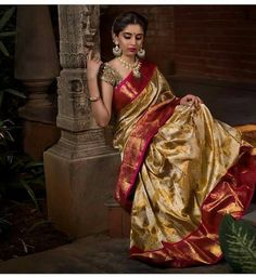 Breathtaking Golden Colored Casual Wear Pure Soft Silk Saree – Diwine Store You are in the right place about boat neck Blouse Here we offer you the most beautiful pictures about the chiffon Blouse you Indian Bridal Sarees, Wedding Silk Saree, Indian Bridal Fashion, Indian Beauty Saree, Gold Silk Saree, Soft Silk Sarees, Blue Saree, Golden Saree, Silk Saree Kanchipuram