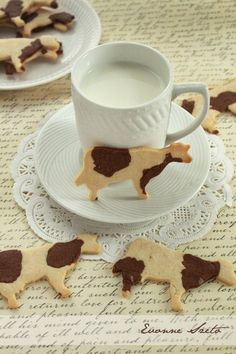 sweet from the heart: Cow-Patterned Cow Cookies Cow Cookies, Sugar Cookies, Baking Recipes, Cookie Recipes, Dessert Recipes, Comida Disney, Bolacha Cookies, Cafe Food, Cute Cakes