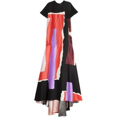 ROKSANDA Garnet Gown (€1.815) ❤ liked on Polyvore featuring dresses, gowns, black evening dresses, scoop neck dress, short sleeve black dress, sleeveless dress and flared dress