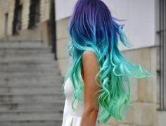 Rita Ora's Dip Dye Hair + 9 More Rad Rainbow Hairstyles - Hair - Hair Designs Dip Dye Hair, Dyed Hair, Dip Dyed, Cool Hair Dyed, Blue Ombre Hair, Pastel Hair, Mint Hair, Teal Hair, Teal Ombre