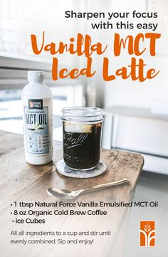Featuring brain-boosting fat from pure coconut MCTs (medium chain triglycerides), this rich and creamy Vanilla MCT Cold Brew Latte will maximize your focus, increase your mental clarity, and infuse you with steady energy to supercharge your productivity.