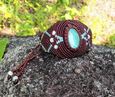 tutorial on setting stone all the way to finishing a macrame braclet Мастер класс от Анастасии, микромакраме