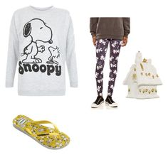 """""""Peanuts Snoopy"""" by kylamckay1210 ❤ liked on Polyvore featuring Mighty Fine, Havaianas, women's clothing, women, female, woman, misses and juniors"""