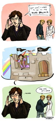 That is totally Sherlock's Mind Palace. Except the flags should be pirate flags.