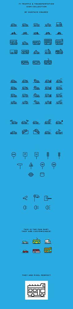 車、電車、バスなど乗り物のアイコンセット
