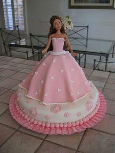 Pink Barbie Cake My first fondant cake. Had a lot of fun! Barbie Torte, Barbie Doll Birthday Cake, Bolo Barbie, Barbie Cake, Barbie Dress, Girl Birthday, Pink Barbie, Cake Birthday, Bolo Rapunzel