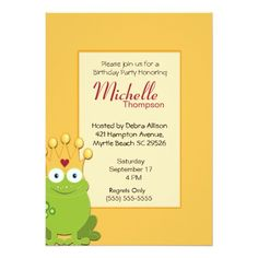 Princess Frog  Birthday Invitations
