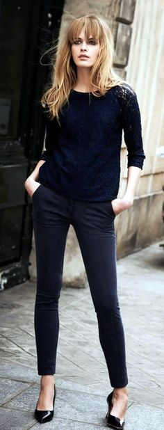 75 Casual Work Outfits Ideas 2016 Colors are too dark but the Lace Top is Great.