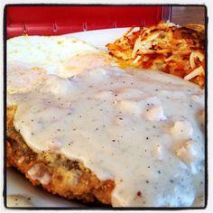 Chicken fried steak and hash brown