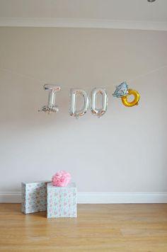 I DO 16'' or 40'' Jumbo Mylar Foil balloons Diamond ring Engagement Party, Last Fling , Hen Party, Mylar Gold Balloons , Balloon Garland