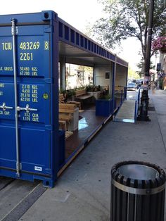 Clever - from shipping container to seasonal pocket park! Boulevard St. Laurent, #Montreal.  via @bryan_in_dc #parklet