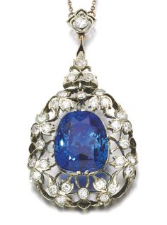 Sapphire and diamond pendent necklace, circa 1900. Claw-set with a…