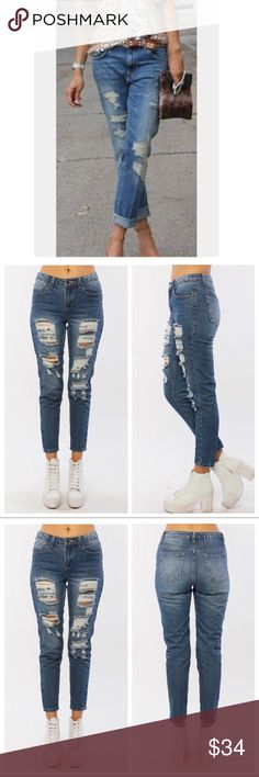 🆕 distress boyfriend jeans Favorite easy to wear relax fit distress boyfriend jeans these are cotton spandex PLEASE Use the Poshmark new option you can purchase and it will give you the option to pick the size you want ( all sizes are available) BUNDLE and save 10% ( no trades price is firm unless bundled) Jeans Boyfriend