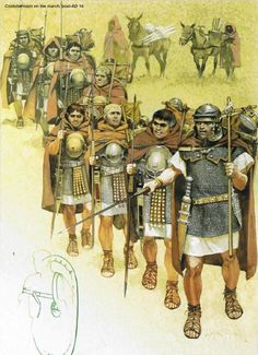 Roman Legionaries on the march, 1st half I Century AD.