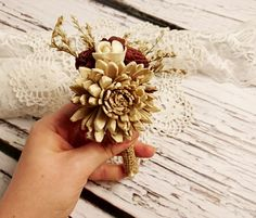 Cream brown rustic wedding Rustic BOUTONNIERE / CORSAGE groom groomsman, Sola Flower, dried limonium Wedding Flowers custom - pinned by pin4etsy.com