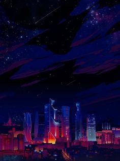 City Iphone Wallpaper, Cityscape Wallpaper, Homescreen Wallpaper, Scenery Wallpaper, Sky Anime, Anime City, Cyberpunk City, Futuristic City, Night Aesthetic