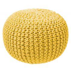Pouf tricot jaune