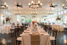 Dinning room table setting with the head table. Kent Island Maryland Chesapeake Bay Beach Club wedding photo, by wedding photographers of Leo Dj Photography. http://leodjphoto.com