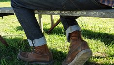 Tellason denim and if my eyes serve me right that is a Red Wing moc toe.