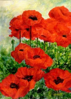 Poppy Flower Paintings | Colorful Original Painting of Red Poppies Flowers Art