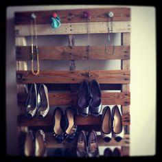 DIY pallet shoe/necklace rack. Cost me $10!!